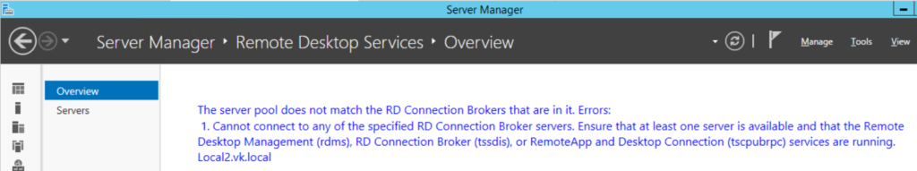 Connection to broker server failed
